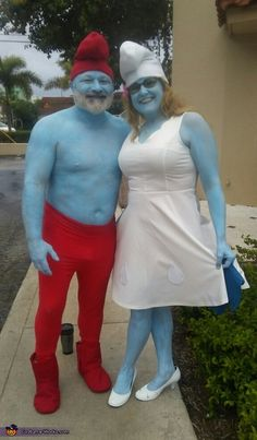 Diy papa smurf costume diy smurfette costumehomemade smurfs costume papa smurf smurfette halloween costume contest at costume works solutioingenieria Image collections