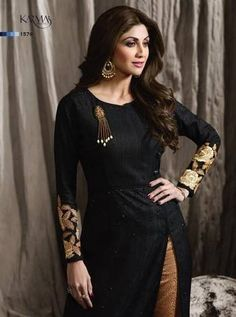 Black Heavy Designer Embroidered Festive Look Shilpa Shetty Party Wear Straight Pant Style Suit Indian Designer Outfits, Designer Gowns, Kurti Neck Designs, Blouse Designs, Latest Kurti, Embroidery Fashion, Hand Embroidery, Embroidery Designs, Fashion Sale