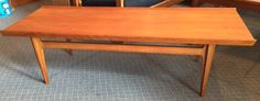 "Finn Juhl Teak Coffee Table, $999, L58"", W21"", Mid century modern At just under 5' this mid century modern coffee table is perfect paired with a three seater couch or love seat."