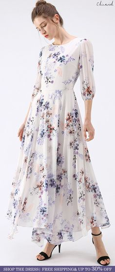 Shop www.chicwish.com and get up to 30% off. Free Shipping Full Bloom  Asymmetric White Floral Printed Maxi Dress 8f80e58ff