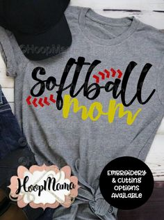 Softball Mom – Embroidery and Cutting Options – HoopMamaYou can find Softball mom and more on our website.Softball Mom – Embroidery and Cutting Options – HoopMama Softball Mom Shirts, Softball Crafts, Baseball Mom, Softball Cheers, Softball Bows, Softball Pitching, Fastpitch Softball, Softball Stuff, Girls Softball