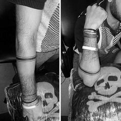 Thin And Thick Creative Armband Tattoos For Guys Black Lines