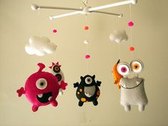 "Baby crib mobile, Monster mobile, Alien mobile, felt mobile, nursery mobile ""Monster Friends 2"""