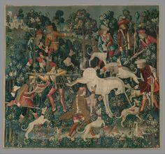The Unicorn Defends Itself Date: 1495–1505 Culture: South Netherlandish Medium: Wool warp with wool, silk, silver, and gilt wefts Dimensions: Overall: 145 x 158 in. (368.3 x 401.3cm) Classification: Textiles-Tapestries Credit Line: Gift of John D. Rockefeller Jr., 1937 Accession Number: 37.80.4 On view in Gallery 017 This artwork is part of Search for the Unicorn: An Exhibition in Honor of The Cloisters' 75th Anniversary