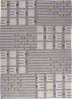 Vintage Swedish Flat Weave rug, Circa: Origin: Sweden, A mid century Vintage Swedish shag rug. Shades of steel gray with a touch of black, white and yellow are… Simple Geometric Pattern, Geometric Shapes, Modern Rugs, Modern Living, Tapestry Weaving, Grey Rugs, Rugs On Carpet, Carpets, Woven Rug