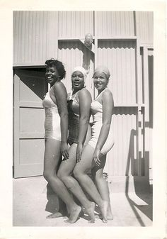 We're Ready for Our Closeup | 1940s African American bathing suit beauties, unidentified.
