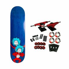 """One Board, Two Board, Red Board, Blue Board, Introducing the first installement of Dr. Seuss decks by Almost Skateboards. This Dr. Seuss model features the Cat In The Hat Thing Stacked graphic and measures Width: 8.0"""" / Length: 31.6"""" / Wheelbase: 14.0"""". Blank Skateboard Decks, Skateboard Grip Tape, Skateboard Shop, Almost Skateboards, Custom Skateboards, Complete Skateboards, Custom Longboards, Hats, Model"""