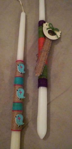 Τwo tri-coloured combinations with decorative birdies and bookmarker made of burlap.