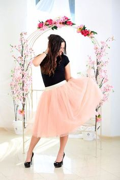 mothers day gift Peach tulle skirt women date skirt outfit
