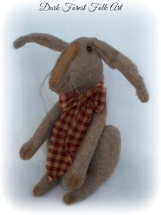 Primitive Rabbit Doll by DarkForestFolkarts on Etsy, $52.00