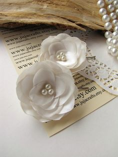 Bridal hair pins with fabric flowers bobby pins with by JujaCrafts