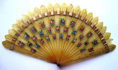 Antique Georgian Regency Horn Brise Fan Fächer eventail ventaglio abanico 1820