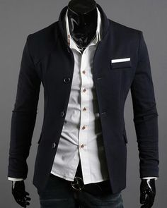 $36.01 - Mens Blazers Two Tone Stand Collar Single Breasted Slim ...