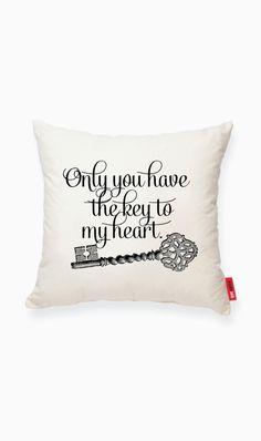 Vintage Key Decorative Linen Throw Pillow