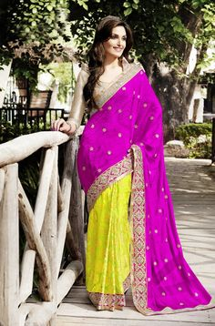 Yellow With Pink Pallu Party Wear Indian Sarees