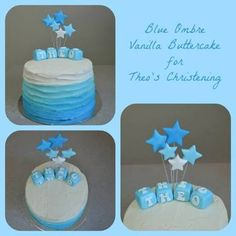 ombre cake for boys baptism - Google Search