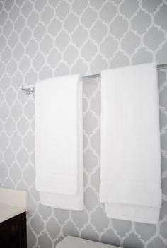 A Pumpkin and a Princess: Stenciled bathroom wall with Cutting Edge Stencils Moroccan Dream Allover Stencil using ...