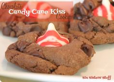 Chocolate Candy Cane Kiss #Cookies by The Six Sisters on iheartnaptime.net