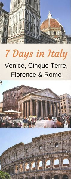 7 days in Italy Itinerary - 1 Week in Italy Itinerary - Venice, Cinque Terre, Florence, Rome - Highlights of Italy - Best of Italy - Italy Travel - Italy Vacation #Italy #Italiytrip #Venice #Florence #Rome #italytravelinspiration #ItalyVacation