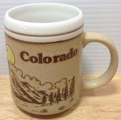 Vintage Colorado Coffee Mug Embossed Skier Mountain Columbine Deer Elk Japan | eBay