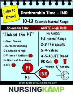 PT –Prothrombin Time – 10-13 Seconds- Used for Coumadin Evaluation Think high is Bleeding and the patient is COUMADIN- The prothrombin time (PT) are measures of the extrinsic pathway of coagulation. They are used to determine the clotting tendency of blood, in the measure of warfarin dosage, liver damage, and vitamin K status. PT measures factors I (fibrinogen), II (prothrombin), V, VII, and 9 & X. PT is the only true indicator of Liver Disease. The PT is used in conjunction with the INR…