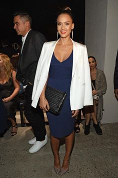 Jessica Alba wearing Bottletop by Narciso Rodriguez Jessica Hand-Braided Clutch, Melinda Maria Preston Drop Earrings and Kurt Geiger London Bond Pumps