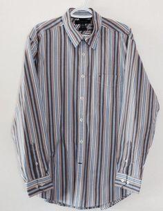 TOMMY HILFIGER Mens Button Front Shirt Size Sz Large 100% Cotton Color Red Blue #TommyHilfiger #ButtonFront