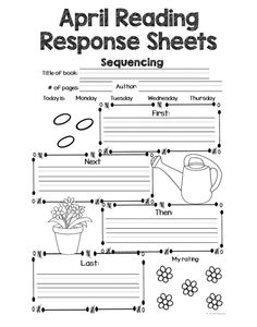 April Reading Response Sheets  This set of Reading Response sheets will help your students keep track of the books they are reading. The best part is that you can use it with any set of books! Increase accountability with these Reading Response Sheets!