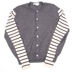COMME des GARCONS Sleeve border docking knit cardigan(K-25953)