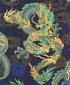 FIREBREATHING DRAGONS Navy Asian Japanese Fabric by AsianFabrics, $5.50