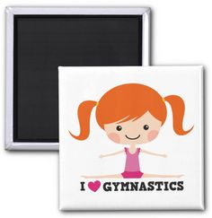 """I love gymnastics cartoon girl side split red hair magnet. Fridge magnet or locker magnet for gymnasts featuring a little cartoon girl with ginger hair doing a side split. Below her is the text """"I love (heart) gymnastics"""". Fun design for girls and women."""