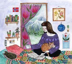 Preparando la noche para leer (ilustración de Kjersti Faret)