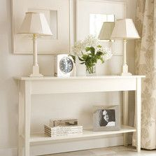 Give your hallway a classic, timeless appeal with lamps either end of a console table.  #thedormyhouse Find all our hallway furniture and storage ideas at http://www.thedormyhouse.com/catalogue/hallway