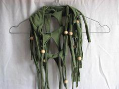 Upcycled green khaki army green Tshirt necklace by KatKeRosCorner, $19.00