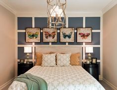 dormitorios modernos, idea de habitación moderna con decoración original en la pared, cama doble con cabecero de madera