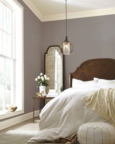 master bedroom paint colors Poised taupe paint color for bedroom walls - beautiful with classic furniture Home Decor Bedroom, Traditional Bedroom, Home Bedroom, Bedroom Interior, Sherwin Williams Poised Taupe, Bedroom Paint Colors, Master Bedroom Paint, Home Decor, Remodel Bedroom