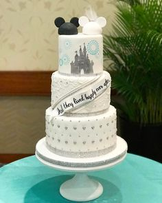 Hidden Mickey wedding cake with multi-colored mickey balloon details and Disney Precious Moments cake topper Castle Wedding Cake, Themed Wedding Cakes, Wedding Themes, Wedding Decorations, Wedding Ideas, Vintage Cake Toppers, Custom Cake Toppers, Perfect Wedding, Our Wedding