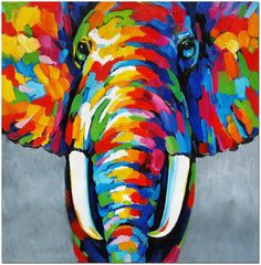 African Elephant - Signed Hand Painted Abstract Wildlife Oil Painting