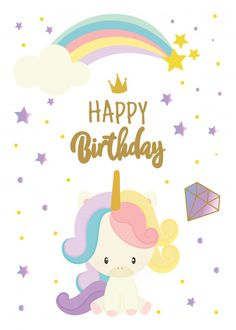 Happy birthday card with cute unicorn Premium Vector Happy Birthday Printable, Happy Birthday Art, Unicorn Birthday Cards, Happy Birthday Wishes Cards, Happy 1st Birthdays, Happy Birthday Images, Birthday Pictures, Birthday Fun, Baby Party