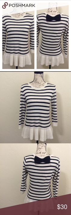Outback Red Striped Sweater Adorable blue and white striped sweater with cute bow back. In good used condition! 39% viscose, 28% polyester, 24% cotton, 7% rabbit hair, and 2% other fiber. Bundles and reasonable offers welcome :) Outback Red Sweaters