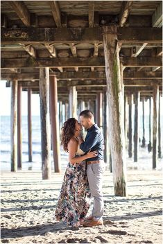 Under the Boardwalk | Oceanfront Harbor Lighthouse Engagement Session