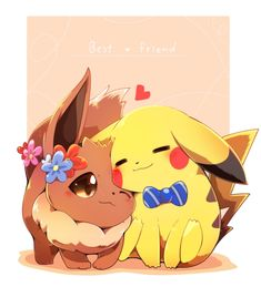Eevee and Pikachu Pokemon Mew, Pokemon Film, Pokemon Comics, Pokemon Fusion, Pokemon Cards, Eevee Cute, Cute Pikachu, Pikachu Chibi, Cute Pokemon Wallpaper