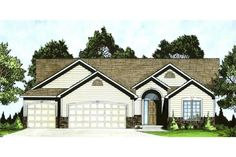 Featuring a spacious floor plan, this Traditional Ranch style house will seem like home right away – and will welcome your guests to come stay a while. Traditional Exterior, Traditional Design, Story House, My House, Exterior Wall Materials, Affordable House Plans, Family Room Fireplace, Ranch Style Homes, Ranch House Plans