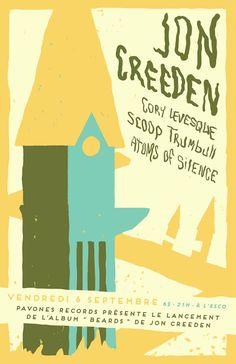 JON CREEDEN + CORY LEVESQUE + SCOOP TRUMBULL + ATOMS OF SILENCE 6 septembre 2013 @ l'Esco Montréal, Canada #poster #design #show #music #gigposter