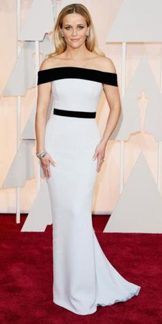 Reese Witherspoon in an off-the-shoulder black & white Tom Ford belted gown with Tiffany & Co. jewels.