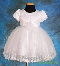 14Jul. $27 Pearls Embroidery Formal Dress Wedding Flower Girl Party White Baby Size 0 FG033