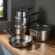 Fleischer and Wolf Seville Hammered Stainless Steel Cookware Set - Crate and Barrel Cast Iron Cookware, Cookware Set, Shabby Chic Kitchen, Fun Cooking, Cooking Recipes, Cooking Utensils, Organizer, Crate And Barrel, Kitchenware