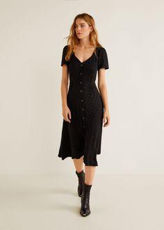 vestido largo negro manga corta botones delanteros mango