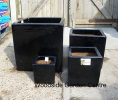 Large Black Glazed Square Garden Pots | Woodside Garden Centre | Pots To  Inspire
