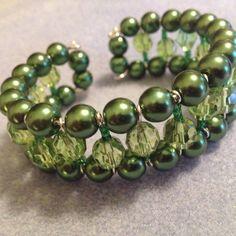 Green Pearl & Emerald Crystal Memory Wire Cuff, Wedding Jewellery, Pearl Bracelet, Bangle, Bridal, Gift, Handmade by MariposaByDesign on Etsy